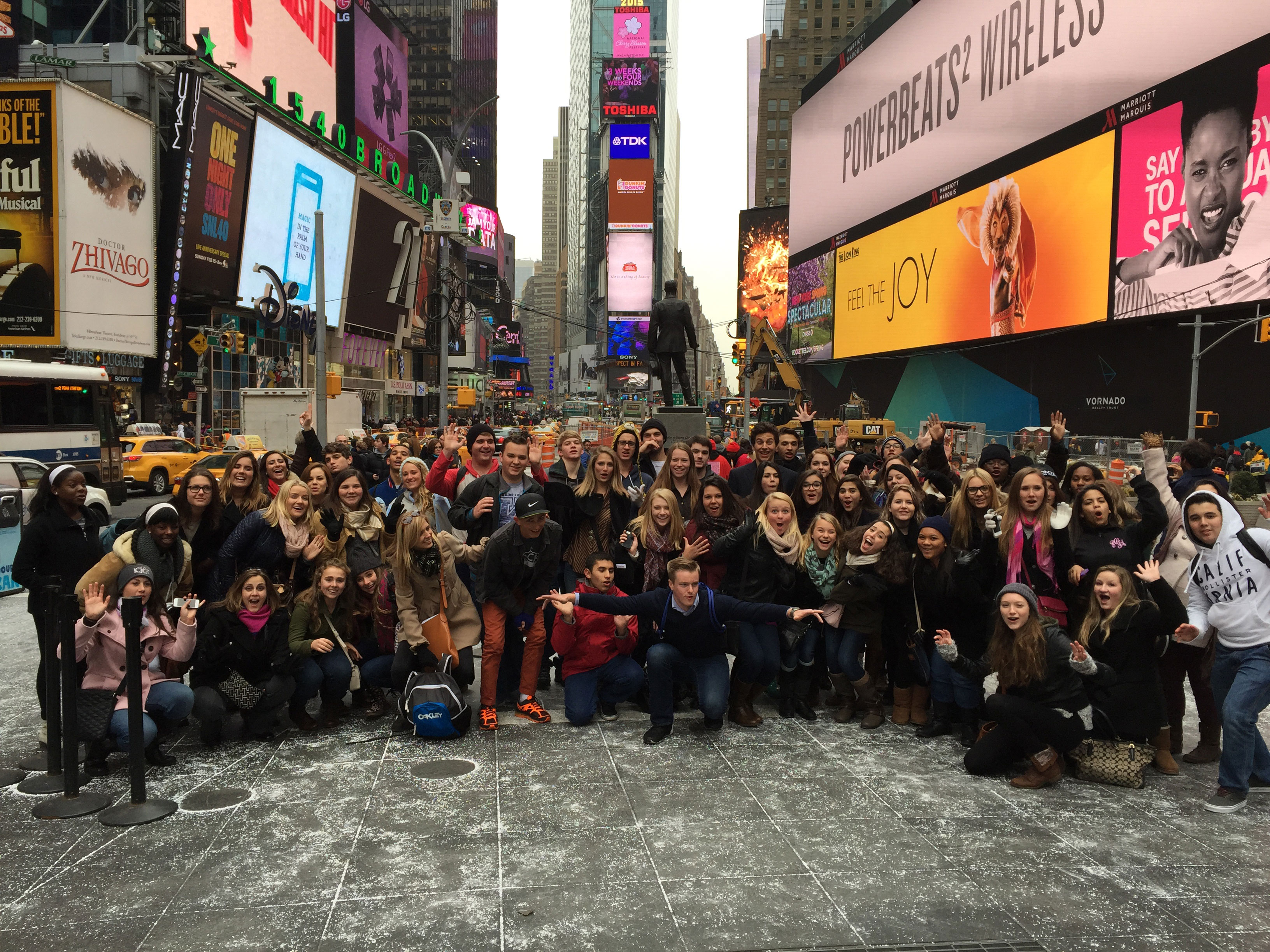 TKA performing arts students in Times Square