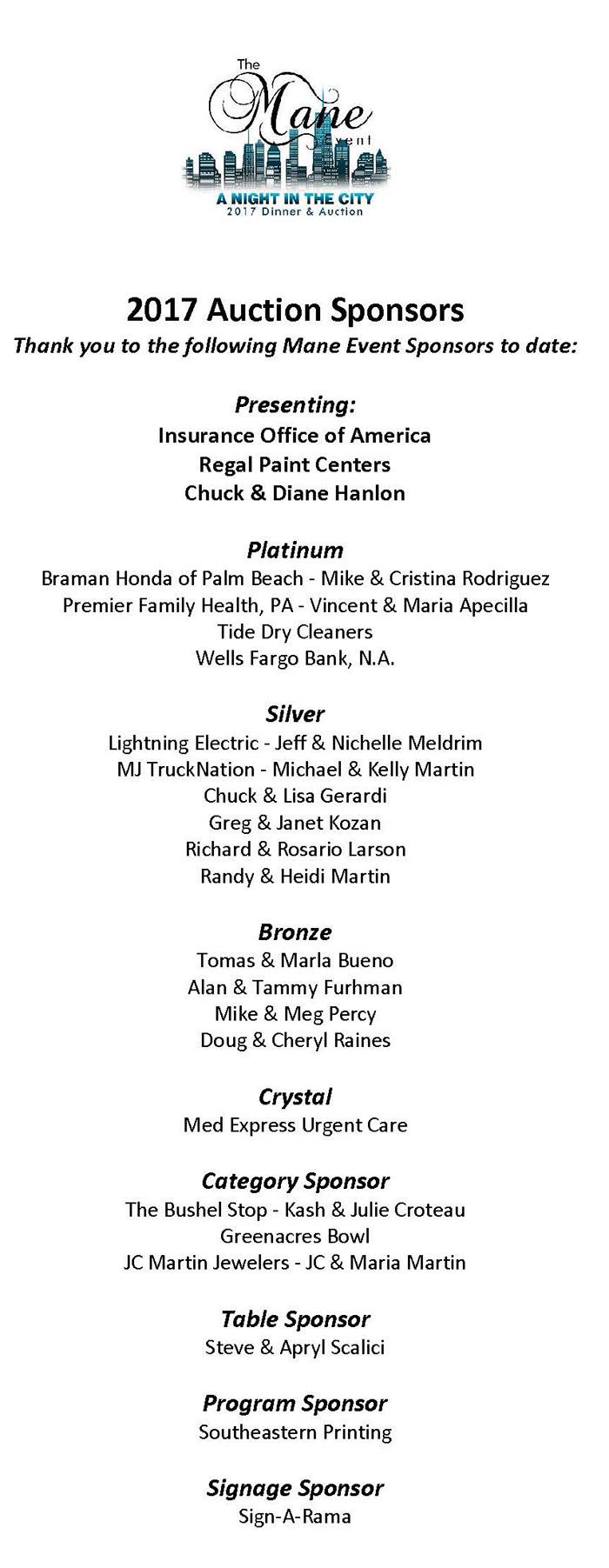 Mane Event Sponsor List