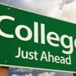 college just ahead sign