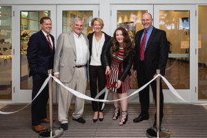 TKA President Randal Martin, the Page Family (David, Tuny, and Charlotte '18), and Chairman of the Board Dr. Clyde S. Meckstroth cut the ribbon on the Page Family Center for the Performing Arts on May 2, 2017